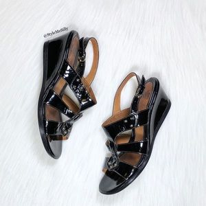 Sofft black patent leather open toe wedges